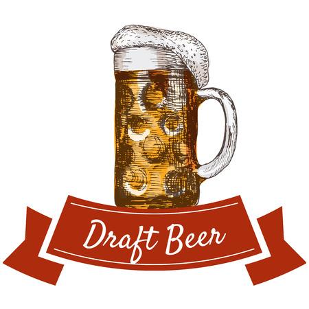 draft: Draft beer illustration. Vector colorful illustration of draft beer.