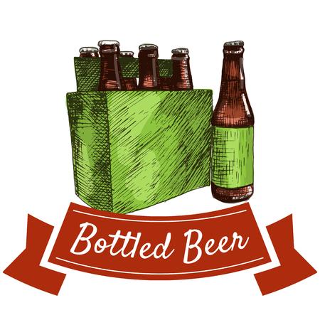 chips and salsa: Bottled beer illustration. Vector colorful illustration of bottled beer. Illustration