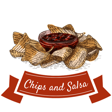 chili sauce: Chips and salsa illustration. Vector colorful illustration of beer snacks.