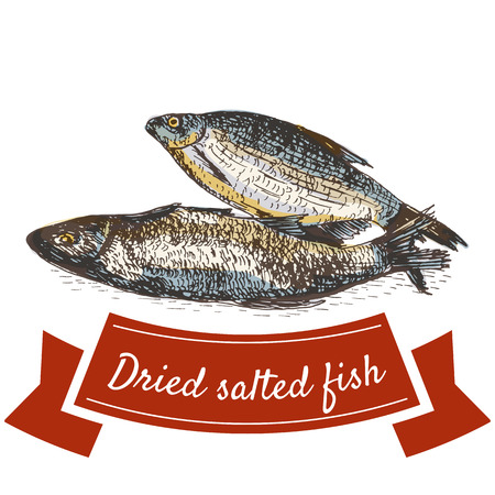 Dried salted fish product illustration. Vector colorful illustration of fish.