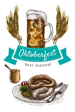 rye: Oktoberfest set illustration. Vector colorful illustration of beer and snack products.