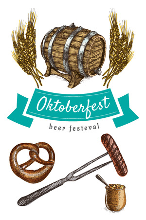 spica: Oktoberfest set illustration. Vector colorful illustration of beer and snack products.