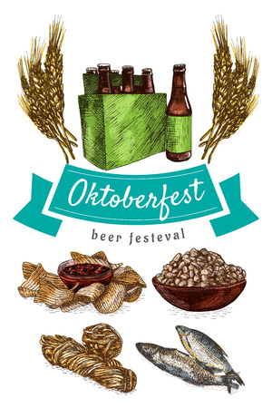 chips and salsa: Oktoberfest set illustration. Vector colorful illustration of beer and snack products.