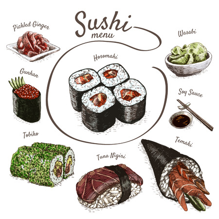 Illustration of various sort of sushi. Colorful illustration of sushi Фото со стока - 65975422