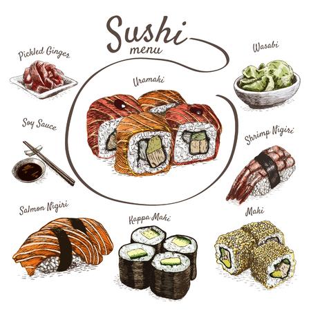 Illustratie van de verschillende soort van sushi. Kleurrijke illustratie van sushi