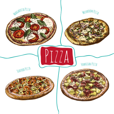 margherita: Margherita, Mushroom, Hawaiian and Seafood pizzas illustration. Vector colorful illustration of pizzas