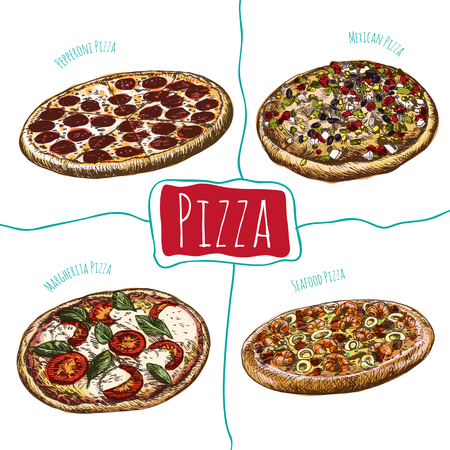 margherita: Pepperoni, Margherita, Mexican and Seafood pizzas illustration. Vector colorful illustration of pizzas Illustration