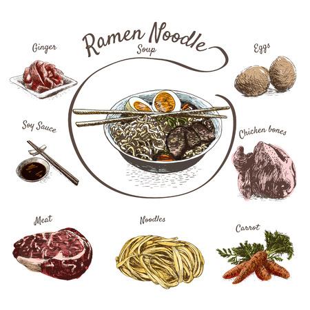 noodle soup: Ramen noodle soup with ingredients illustration. Vector colorful illustration.