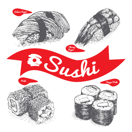 exotica: Illustration of various sort of sushi and nigiri. Monochrome illustration of sushi and nigiri