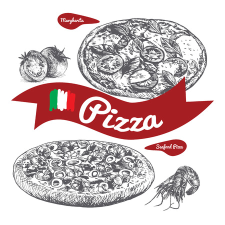 margherita: Margherita and Seafood pizzas illustration. Vector illustration of pizzas