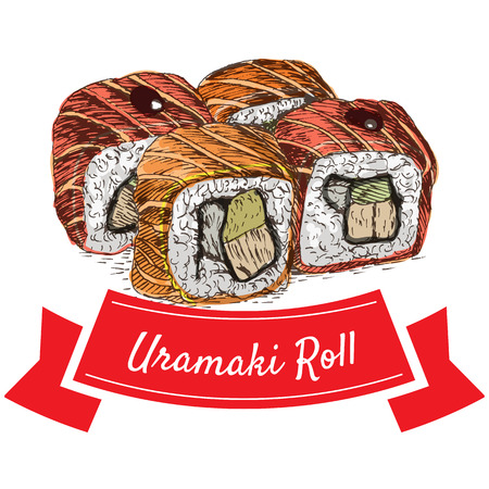 Uramaki roll colorful illustration. Vector colorful illustration.