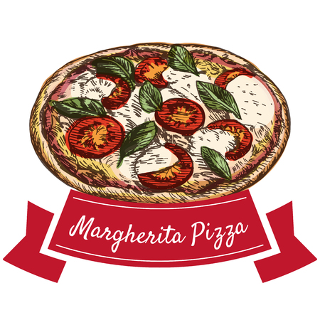 Margherita pizza colorful illustration. Vector colorful illustration. Illustration