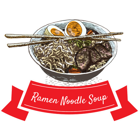 Ramen noodle soup illustration. Vector colorful illustration.