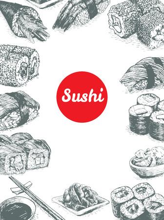 Illustratie van de verschillende soort van sushi. Monochroom illustratie van sushi