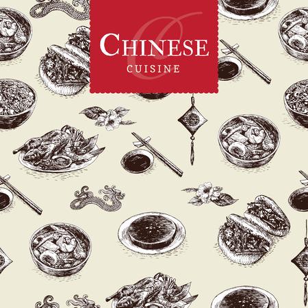 la cocina china colorida ilustración. Ilustración vectorial de diferentes comidas chinas. Ilustración de vector