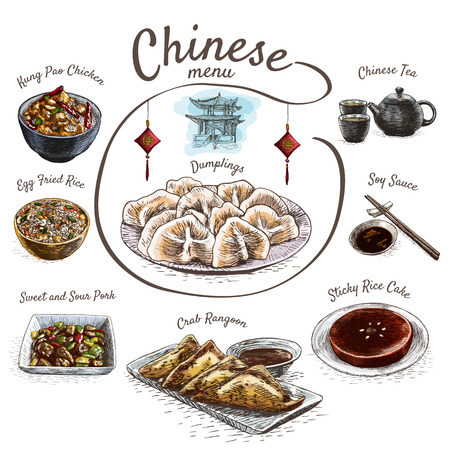 chinese cuisine: Chinese food colorful illustration. Vector colorful illustration of Chinese cuisine.