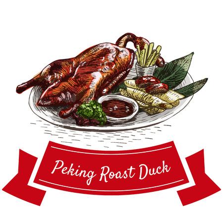 Peking roast duck colorful illustration. Vector illustration of Chinese cuisine. Illusztráció