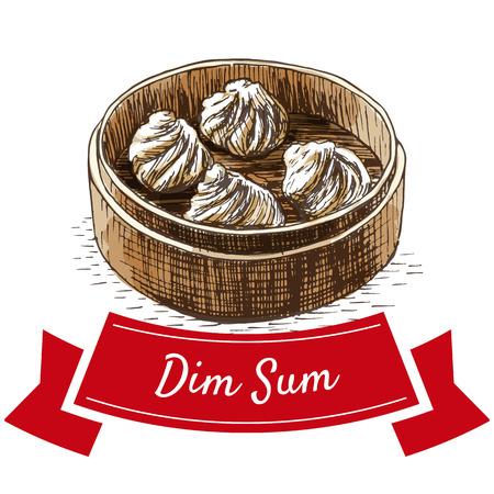 Dim sum coloré illustration. Vector illustration de la cuisine chinoise. Vecteurs
