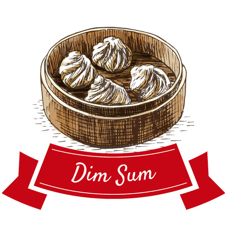 Dim sum colorful illustration. Vector illustration of Chinese cuisine.