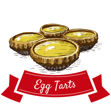 Chinese egg tarts colorful illustration. Vector illustration of Chinese cuisine. Illustration