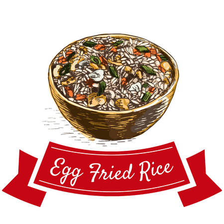 Egg fried rice colorful illustration. Vector illustration of Chinese cuisine.