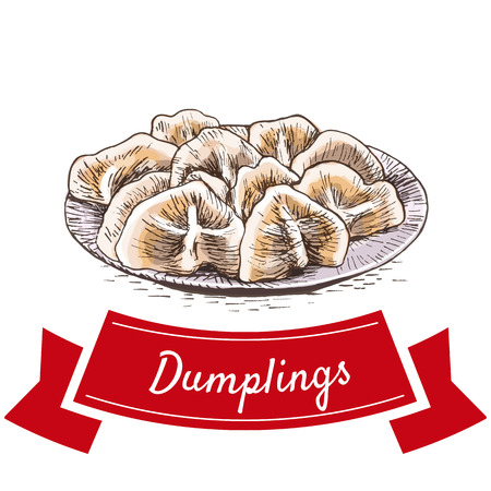Dumplings colorful illustration. Vector illustration of Chinese cuisine.