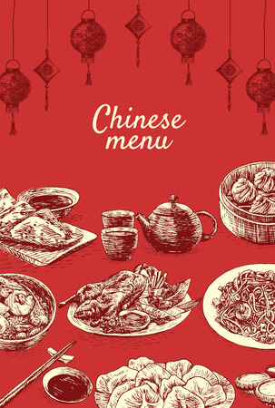 Chinese menu colorful illustration. Vector illustration of different Chinese meals