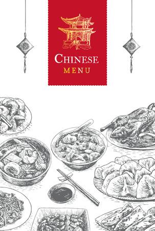 chinese menu: Chinese menu colorful illustration. Vector illustration of different Chinese meals