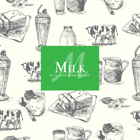 dairy products: Vector illustration colorful seamless pattern with dairy products. Different sorts of dairy products