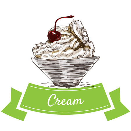 lite: Cream colorful illustration. Vector illustration of breakfast. Illustration