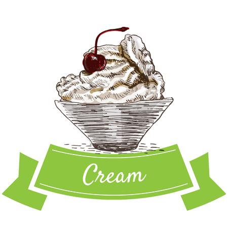 Cream colorful illustration. Vector illustration of breakfast. Illustration