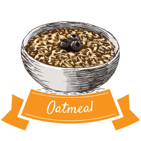 Oatmeal colorful illustration. Vector illustration of breakfast.