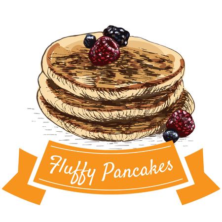 fluffy: Fluffy pancakes colorful illustration. Vector illustration of breakfast.