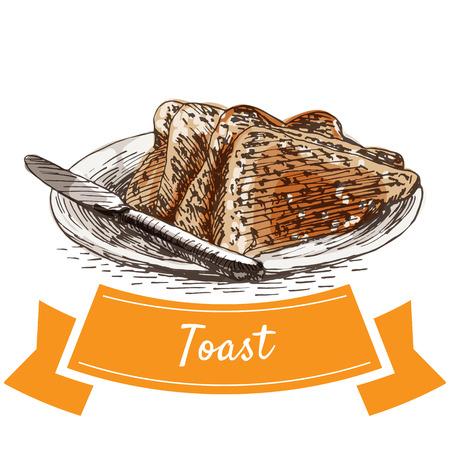 Grzanka kolorowa ilustracja. Ilustracja wektorowa śniadania. Ilustracje wektorowe