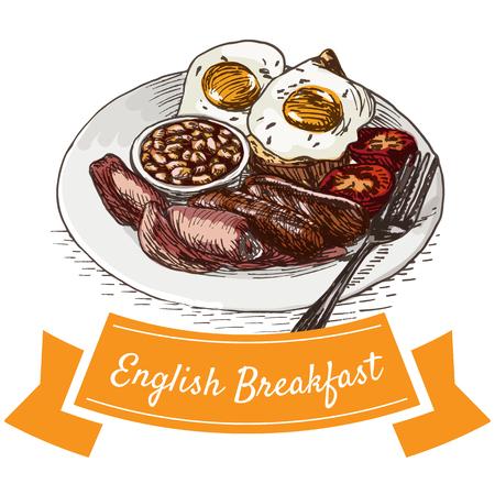 イングリッシュ ・ ブレックファーストのカラフルなイラスト。朝食のベクター イラストです。