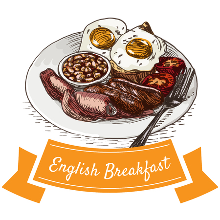 English breakfast colorful illustration. Vector illustration of breakfast.