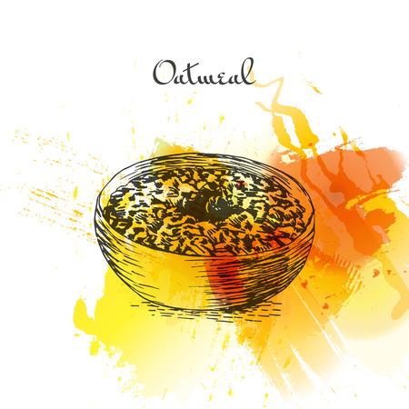 오트밀 죽 다채로운 수채화 효과 그림입니다. 벡터 일러스트 레이 션. 일러스트