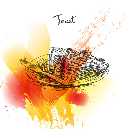 Toast colorful watercolor effect illustration. Vector illustration of breakfast. Illustration