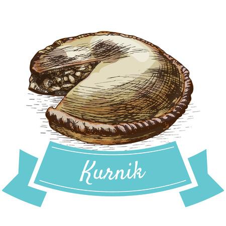 Illustrazione colorata di Kurnik. Illustrazione vettoriale di cucina russa. Vettoriali