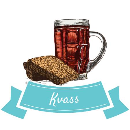 Kvass colorful illustration. Vector illustration of Russian cuisine.