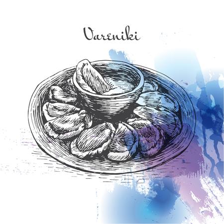 Vareniki watercolor effect illustration. Vector illustration of Russian cuisine. Иллюстрация