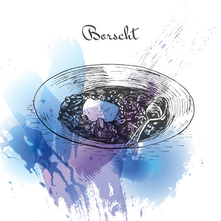 homemade bread: Borscht watercolor effect illustration. Vector illustration of Russian cuisine.