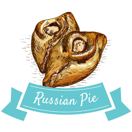 Russian Pie colorful illustration. Vector illustration of Russian cuisine.