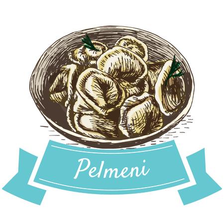 tortellini: Pelmeni colorful illustration. Vector illustration of Russian cuisine.
