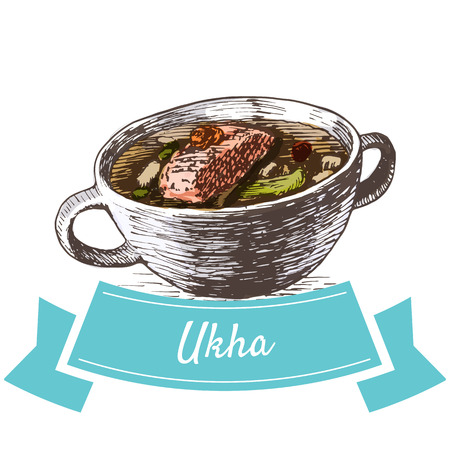 Ukha colorful illustration. Vector illustration of Russian cuisine.