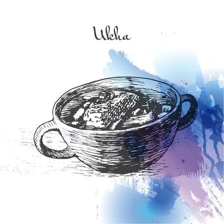 Ukha watercolor effect illustration. Vector illustration of Russian cuisine.