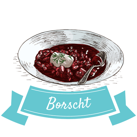 borscht: Borscht colorful illustration. Vector illustration of Russian cuisine.