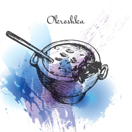 Okroshka watercolor effect illustration. Vector illustration of Russian cuisine.