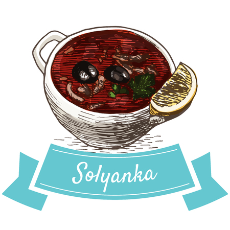 solyanka: Solyanka colorful illustration. Vector illustration of Russian cuisine.