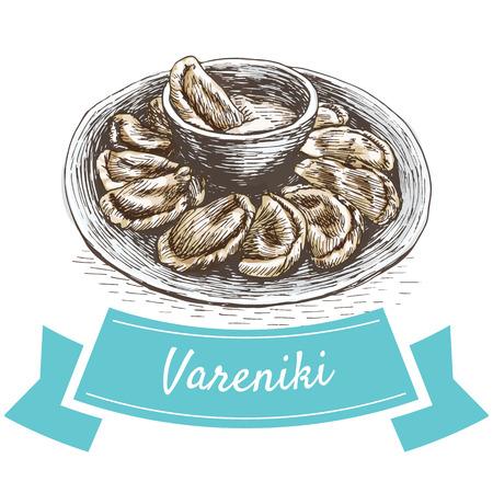 Vareniki colorful illustration. Vector illustration of Russian cuisine.